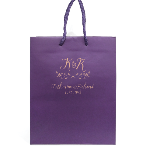 Rustic Monogram Personalized Wedding Welcome Bags - Jennifer Collection - Tea and Becky