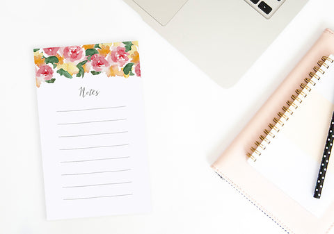 Rose Watercolor Notepad - Memo To Do List - Tea and Becky