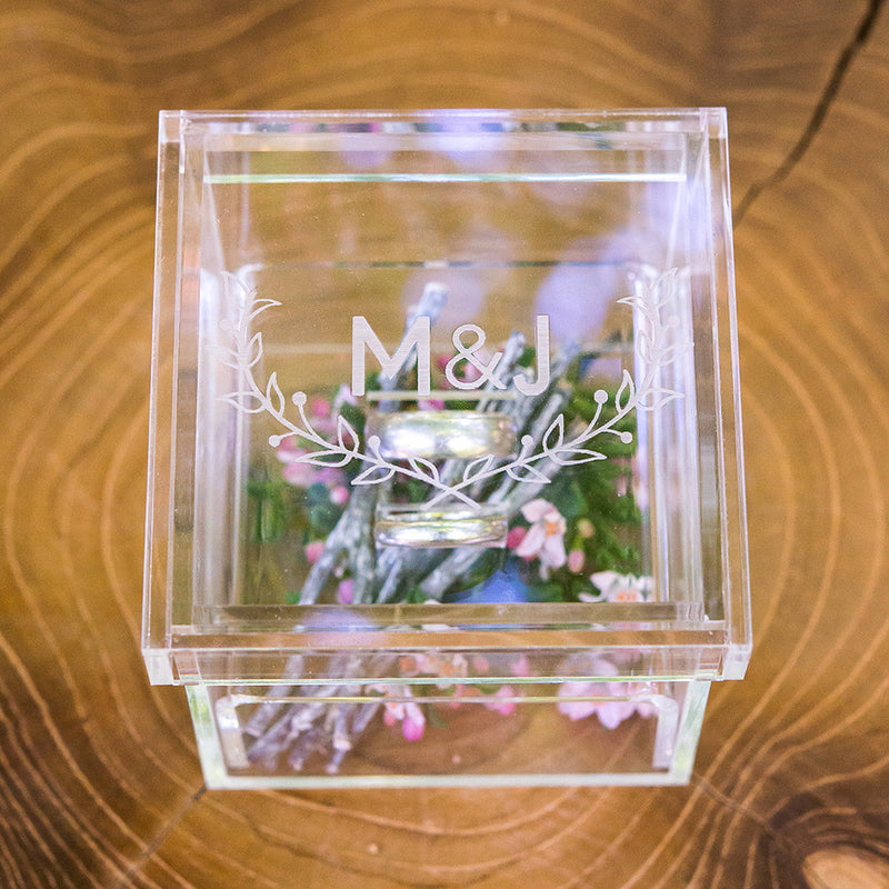 Monogrammed Woodland Personalized Lucite Wedding Ring Box - Tea and Becky