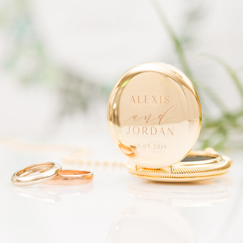Wedding Ring Box - Personalized Modern Pocket Case - Gold or Rose Gold - Tea and Becky