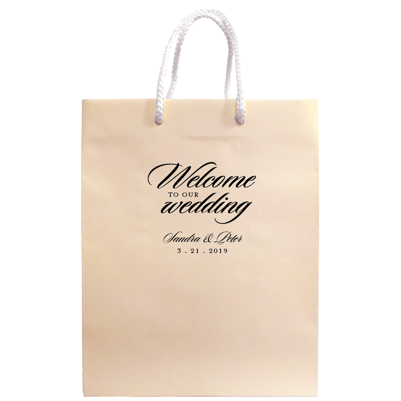 Personalized Welcome to our Wedding Bags - Carrie Collection - Tea and Becky