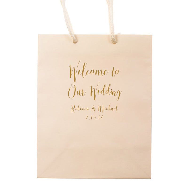 Personalized Welcome to our Wedding Bags - Monica Collection - Tea and Becky
