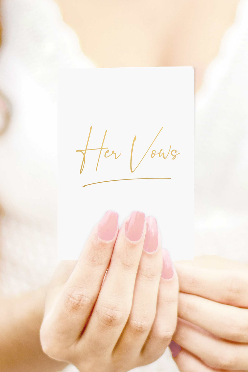 Vow Books - His and Hers Vow Books Set - White and Black with Gold Foil - Tea and Becky