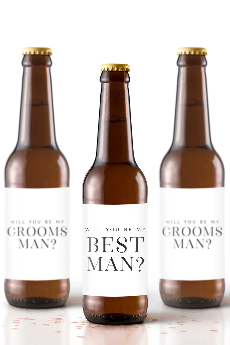 Will You Be My Best Man Beer Bottle Labels - Tea and Becky