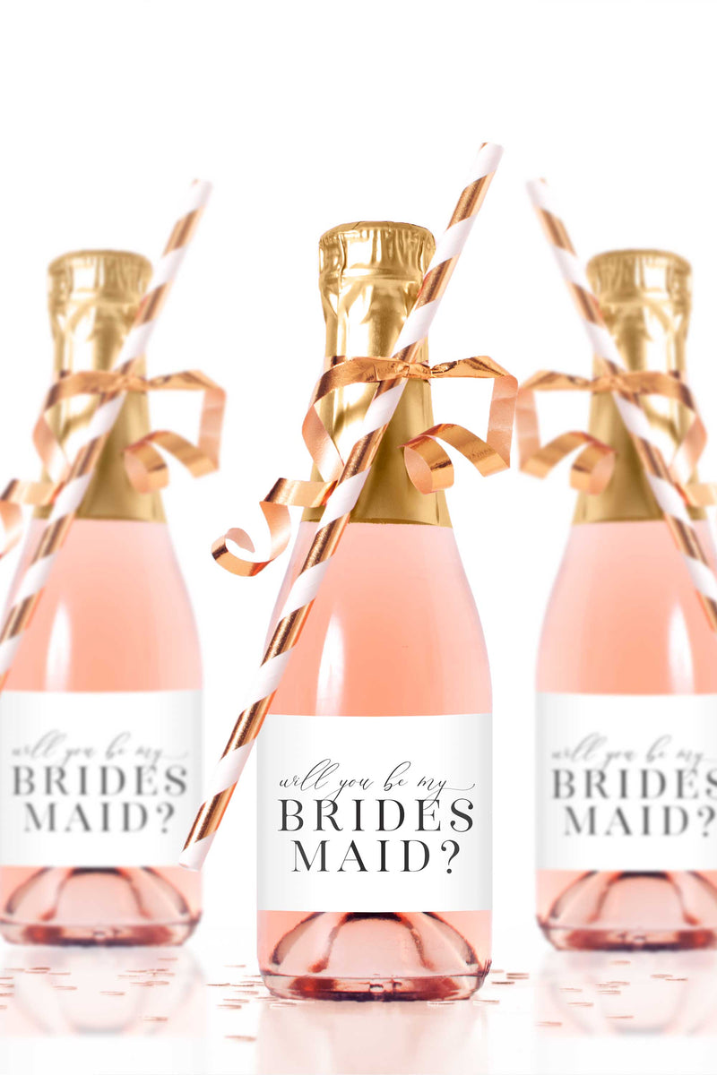 Will You Be My Bridesmaid Mini Champagne Bottle Labels - Tea and Becky