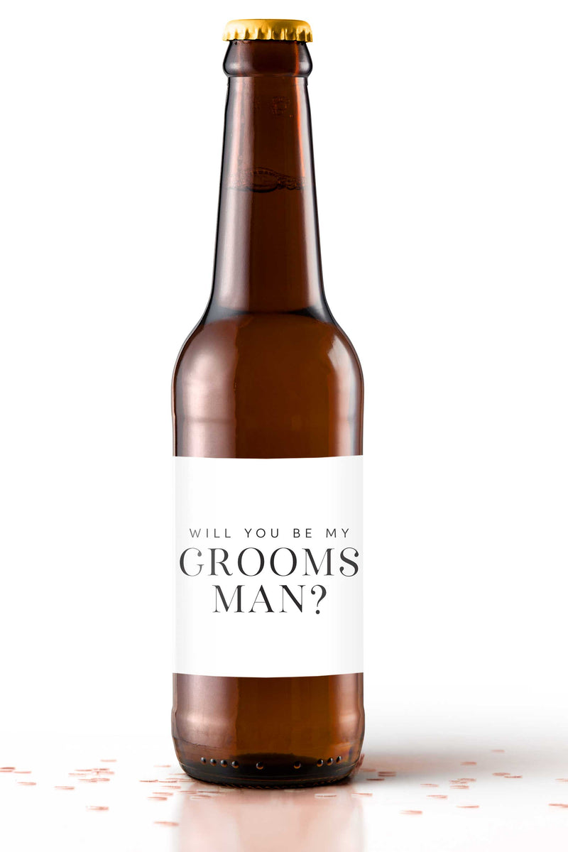 Will You Be My Groomsman Beer Bottle Labels - Tea and Becky