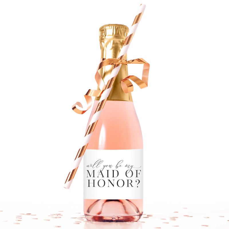 Will You Be My Maid of Honor Mini Champagne Bottle Labels - Tea and Becky