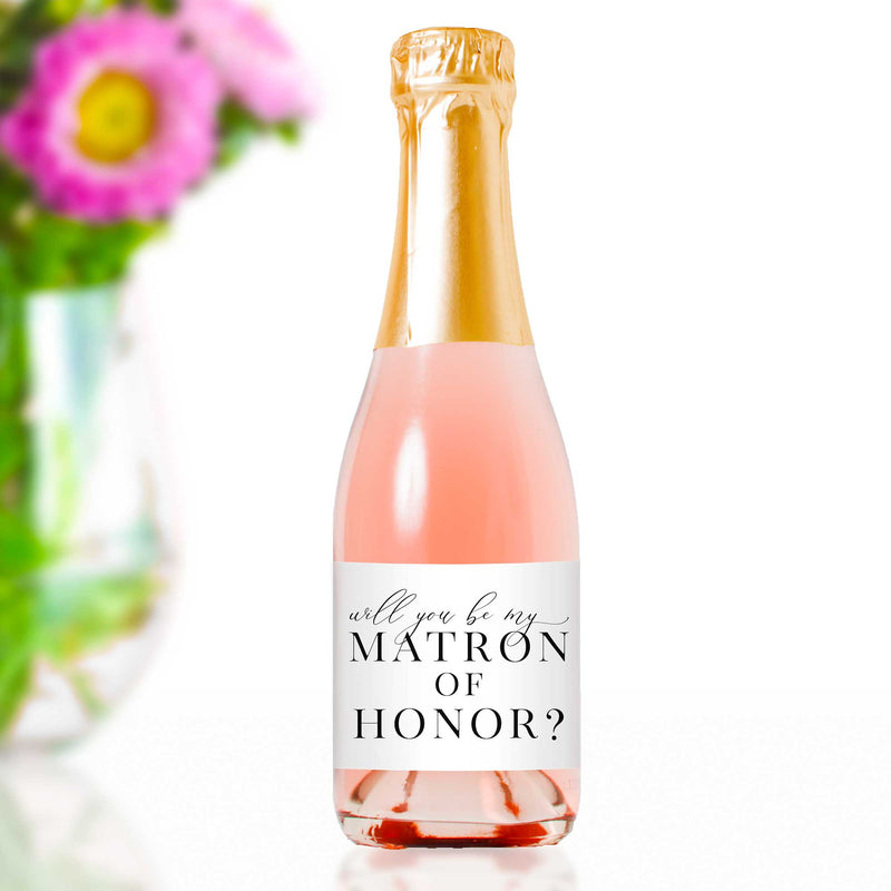 Will You Be My Matron of Honor Mini Champagne Bottle Labels - Tea and Becky