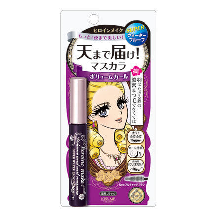 Kiss Me Heroine Make - Volume & Curl Mascara Super WP 01 Black - Sakura Cosme Canada