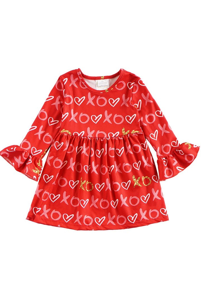 Xoxo Valentine's Flutter Sleeve Dress