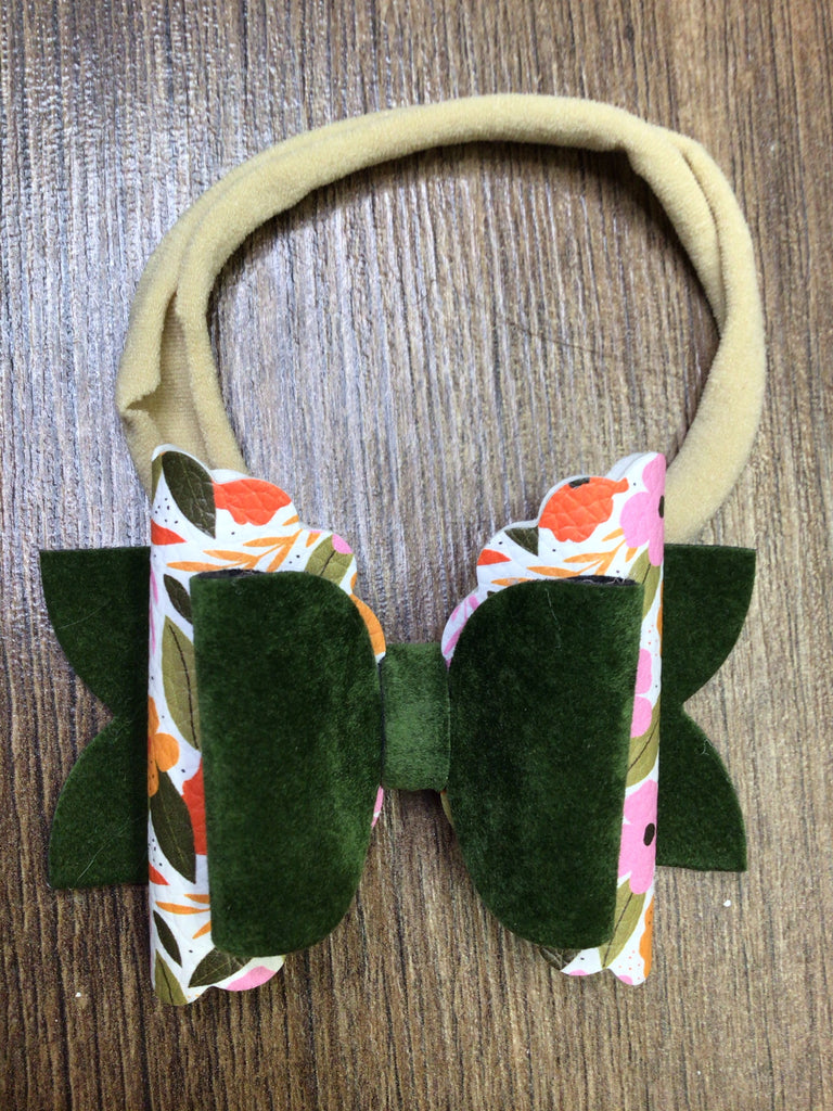 Olive Velvet with Vintage & Birch Floral Nylon Headband