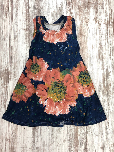 Navy Floral Splatter Racerback Dress