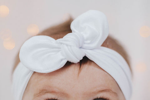 Knot bow headband - white