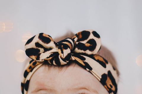 Knot bow headband - Latte Cheetah