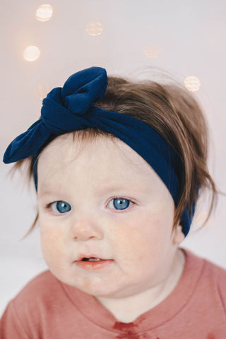 Knot bow headband - Navy