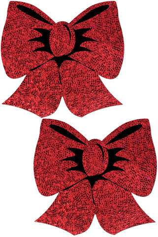 Bow: Holographic Red Bows Nipple Pasties