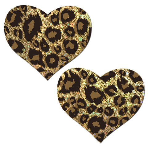 Glittering Gold Cheetah Heart Nipple Pasties
