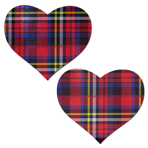 Red Plaid Punk School Girl Heart