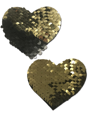 Love: Gold & Black Color Changing Sequin Heart Nipple Pasties