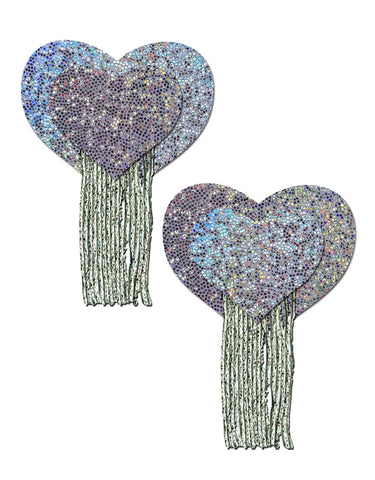 Love: Silver Glitter Hearts with Tassel Fringe Nipple Pasties