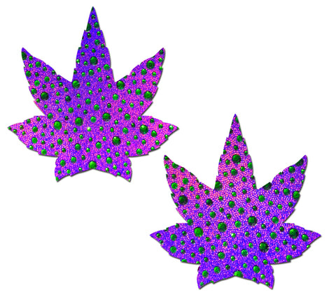 Crystal Purple Weed Nipple Pasties