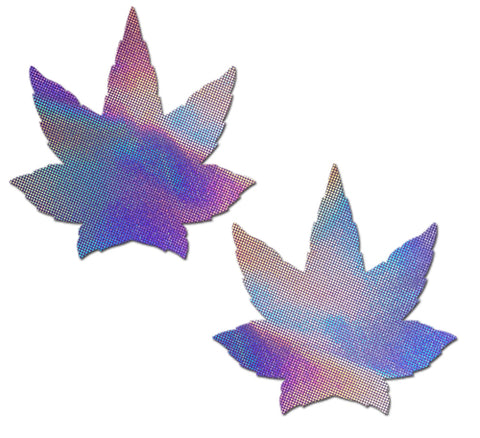 Indica Pot Leaf: Lavender Holographic Weed Nipple Pasties