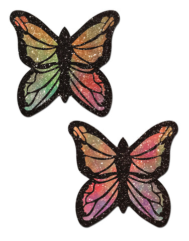 Monarch: Glitter Pastel Rainbow Butterfly Nipple Pasties