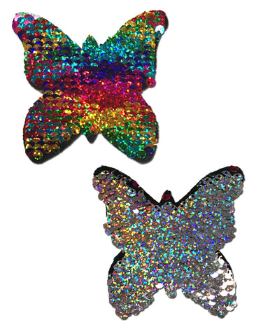 Monarch: Rainbow & Silver Glitter Color Changing Sequin Butterfly Nipple Pasties