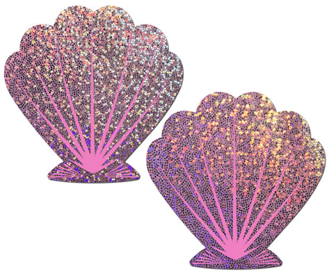 Mermaid: Glitter Lilac & Pink Seashell Nipple Pasties