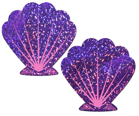 Mermaid: Purple Glitter & Pink Seashell Nipple Pasties