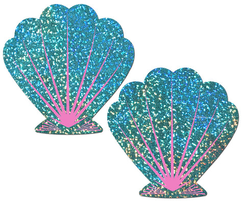 Mermaid: Liquid Seafoam Green and Pink Seashell Nipple Pasties