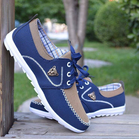 Blue Canvas Casual Men Shoes