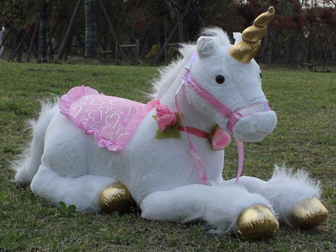 Jumbo White Unicorn Plush Toy