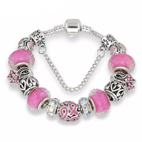 Breast Cancer Awareness Pink Ribbon Charms Bracelet