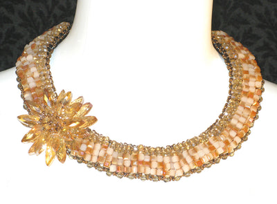 Jackie Jones Amber and Crystal Necklace