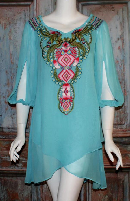 VINTAGE COLLECTION AQUA MARINE TUNIC ON SALE