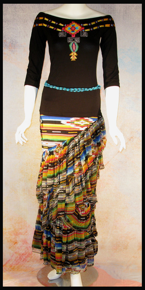 Vintage Collection Rainbow Saltillo Asymmetrical Ruffle Long Skirt_Collectible