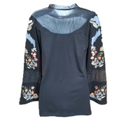 Vintage Collection Blue Dahlia Bell Sleeve Top
