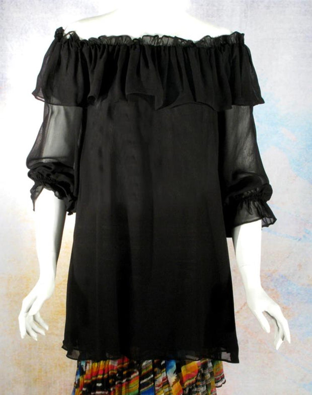Vintage Collection Black Ruffle Peasant Tunic