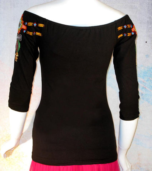 VINTAGE COLLECTION BLACK RAINBOW SALTILLO EMBROIDERED TOP_Collectible