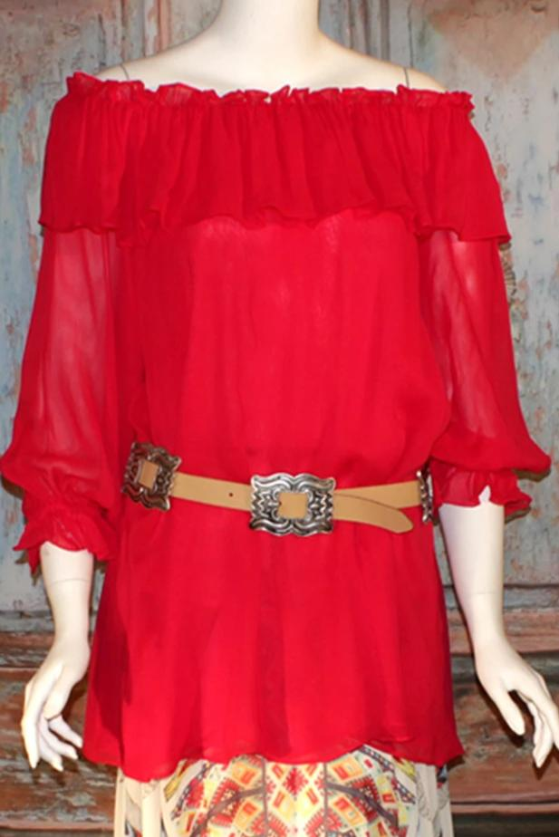Vintage Collection Coral Ruffle Peasant Tunic