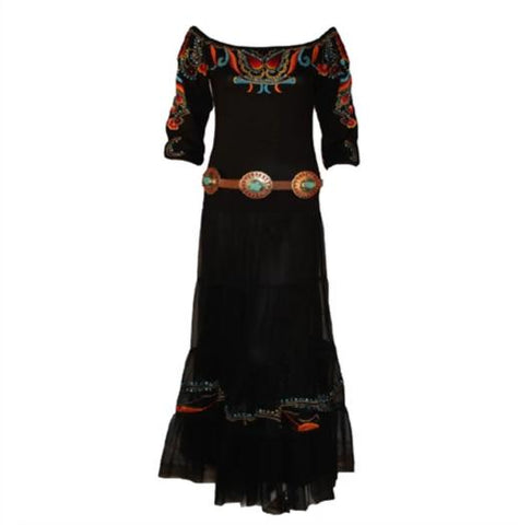 Silverado Short Dress in Flaming Sun Black Serape