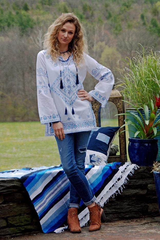 TASHA POLIZZI COWGIRL BLUES SHIRT on SALE
