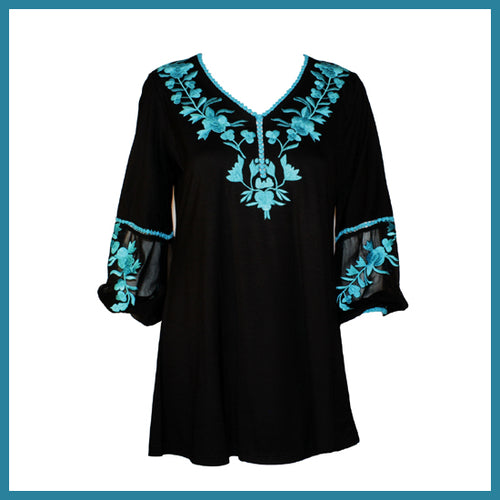 Vintage Collection Danni Tunic Blk/Turq