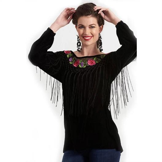 Roja Flamenco Top in Black