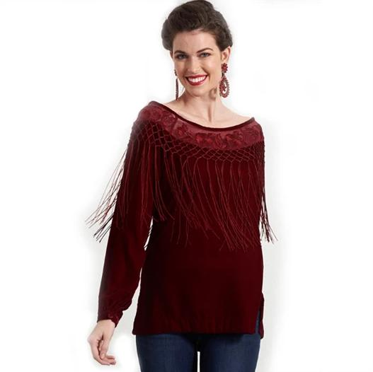 Roja Flamenco Top in Burgundy