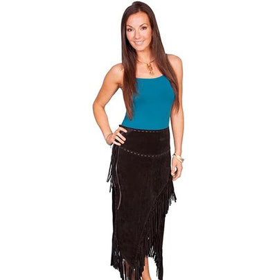 Scully Black Long Fringe Skirt