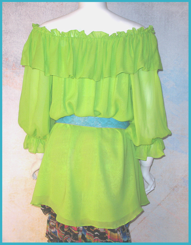 Vintage Collection Lime Ruffle Peasant Tunic