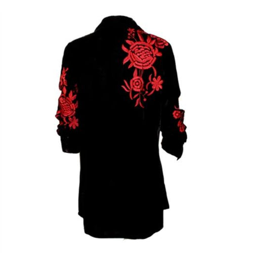Vintage Collection Liz Velvet Shirt with Red  Fall 2017