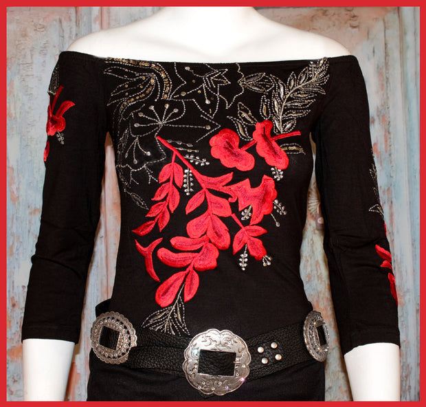 VINTAGE COLLECTION METAL ROSE KNIT TOP_Collectible